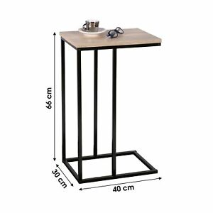 Tall Wooden Top Black Frame Sofa Side End Table Home Office Furniture Sidetable