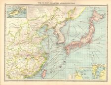 1907  LARGE ANTIQUE MAP - THE FAR EAST : INDUSTRIES & COMMUNICATIONS,CHINA,JAPAN