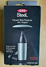 OXO Good Grips Wine Preserver Steel Vacuum and 2 Stoppers Beer Wine Bottles NIP