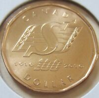 2010 Canada Saskatchewan Roughriders Loonie One Dollar Coin. (UNC.)