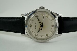 GUBELIN STAINLESS STEEL SWEEP SECOND WRISTWATCH ORIGINAL DIAL DATES 1950'S