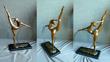 BE-35 Bronze Figur Turnerin Ring Sport 58cm groß Skulptur Frau Gymnastin modern