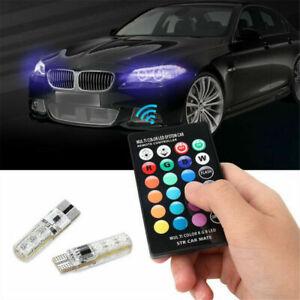 2PCS T10 W5W 5050 6SMD RGB LED Light Car Wedge Bulbs With Remote Control 12V