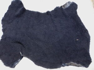 sheepskin shearling leather hide Navy Blue Tight Curly w/matching suede back