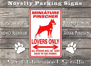 Miniature Pinscher Dog Lovers Parking Sign Mancave Garage Kennel Hound Breed