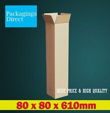 20x Tall Shipping Carton 80x80x610mm Brown Mailing Box Long Tube Replacement