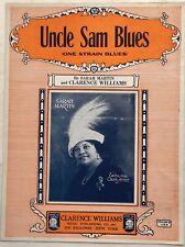 1923  BLACK BLUES SINGER sheet music w/photo SARAH MARTIN Uncle Sam CL. WILLIAMS