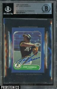 Jose Canseco Signed 1986 Fleer Mini #87 RC Rookie AUTO A's BGS BAS Authentic