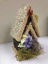 Edible Re-seedable Birdhouse - Nib - Hidden Creek Artisans -Tall wood White Roof