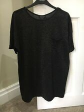 Topshop Size 8 Metallic Tee Black And Gold New No Tags