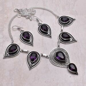 Amethyst Ethnic Handmade Necklace+Earrings Jewelry 37 Gms AN 65149
