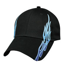 Mens Baseball Ball Hat Blue Flame Curved Brim Cotton Black Cap Adjustable