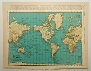 1938 Vintage WORLD MAP Authentic Antique Atlas Map - Collier's World Atlas