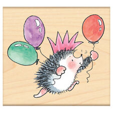 New Penny Black PARTY KING Wood Rubber Stamp Birthday Balloons Happy Hedgehog