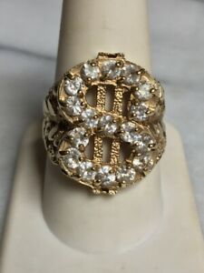 MEN'S YELLOW GOLD 2 CT CZ DOLLAR SIGN SIGNET RING SIZE 10
