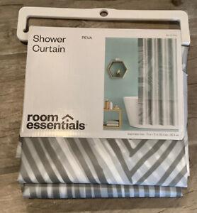 New Target Bathroom Shower Curtain Gray Stripe Opaque  Room Essentials