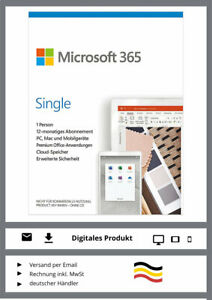 Microsoft Office 365 Single - PC / MAC  - 1 Jahr - Abo - Key - ESD