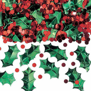 Holly & red berries Christmas Table Confetti Sprinkles Party Decorations