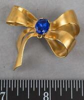 Vintage Coro Sterling Silver Gold Tone Ribbon Rhinestone Brooch Pin mv