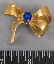 Vintage Coro Sterling Silver Gold Tone Ribbon Rhinestone Brooch Pin mv