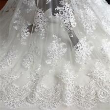 """Vintage Bridal Corded Lace Fabric 51"""" Sequin Beaded Wedding Dress Lace 1/2 Yard"""