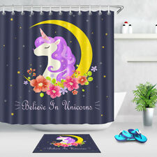 Believe in Unicorn Fabric Shower Curtain Set Bathroom Accessories Curtains Liner