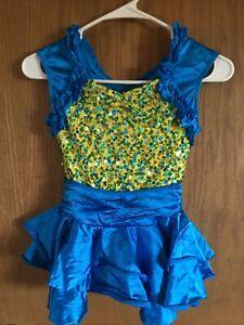 Girls Weismann Dance Skating Dress Costume Leotard Size LC 12/14 Sequined