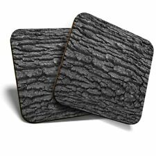 2 x Coasters (BW) - Tree Bark Wood Texture Forest  #37826