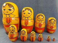 Set Of 10 Vintage Russian Nesting Dolls - Made In USSR