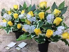 Artificial Silk Flower Arrangements Pair in Grave Pot Memorial Graveside Tribute