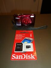 Nikon COOLPIX Coolpix L28 20.1MP Digital Camera - Red WORKS W/ 4GB Memory Card