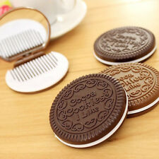 Korean Cute Cookie Shaped Design Mirror Makeup Cosmetic Tool Chocolate Comb