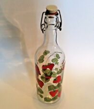 Tall Clear Glass Bottle With Locking Ceramic Stopper - Red Strawberries Leaves
