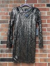 Lucca Couture Gold Sequin Dress M Holiday CutOut Metallic sparkle party long slv