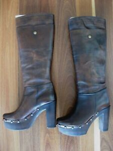 NEW CHARLES DAVID LONG CLOG BOHO BOOTS - MADE IN ITALY - SIZE 35 5 22.5cm