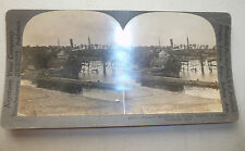 STEREOVIEW PHOTO WWI WRECKED SUBMARINE BRUGES BELGIUM GERMAN BASE c.1917