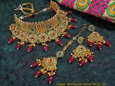 Indian Jaipuri Jewelry Kundan Bridal Wedding  Necklace party wear jewelry set