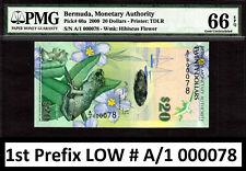 Bermuda $20 Hybrid 2009 1st Prefix LOW # A/1 000078 Pick-60a GEM UNC PMG 66 EPQ