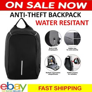 Secure Travel Bag Laptop Holiday Anti-Theft Backpack Water Resistant Black Carry