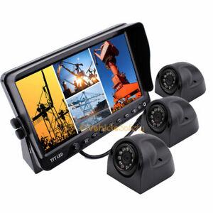 "3x Waterproof Side View Camera Reversing Camera + 7"" Quad TFT-LCD Monitor Kit"