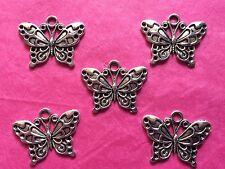 Tibetan Silver Papillon Pendentifs #3 - 5 Per Pack