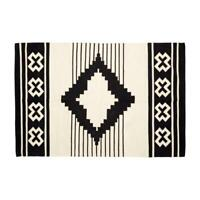 Large Woven Cotton White Rug With Geometric Black Pattern 120x180 cm