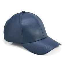 Men Women's Black Casual Adjustable Leather Baseball Cap Hip-Hop Solid Visor Hat