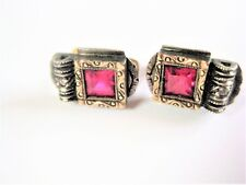 Art Deco Earrings Gold 585 with Red Spinel and rosendiamant, 3,45 G