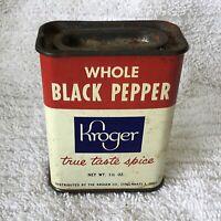 * Vintage Advertising Spice Tin KROGER WHOLE BLACK PEPPER Spice Tin