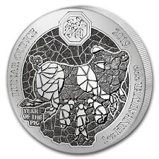 2019 Rwanda 1 oz Silver Lunar Year of the Pig BU - SKU#172122