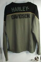 HARLEY DAVIDSON PULLOVER Heavy Long Sleeve Shirt - Green/Black - Mens Size Large