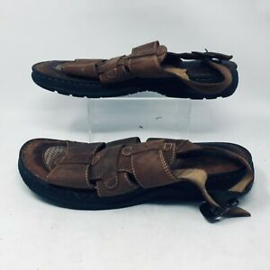 Born M1374 Brown Leather Fisherman Slingback Open Toe Buckle Sandals Mens 11