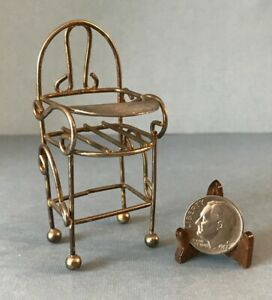"""Vintage Miniature Dollhouse Metal Wire Child's High Chair 1:16 Scale 2.75"""" Tall"""