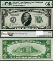 FR. 2000 C $10 1928 Federal Reserve Note Philadelphia Gem PMG CU66 EPQ